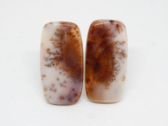 Ali d'Angelo 38 mm x 20 mm 38 Agata dendritica coppia cabochon quarzo dendritico serti, cabochon di opale dendritico, merlinite cabochon serti e83b8f