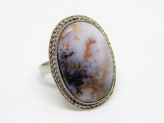 Natural Tourmaline Rhodochrosite amber germany dendritic opal Handmade 925 Silver Plated Ring Lot X5039