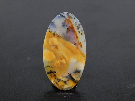 Agate Brown Scenic Translucent Beautiful Dendritic Moss Agate Pendant Black Partially Oxidized Sterling Silver Oval