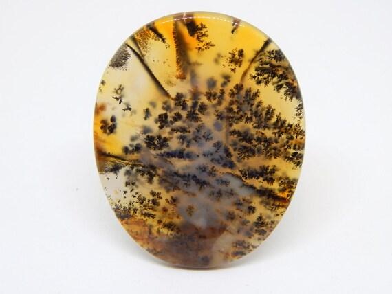 Agata dendritica cabochon cabochon cabochon 57 x 46 mm, quarzo dendritico, opale dendritico, pietra dura cabochon ovale agata gialla 06a4fb