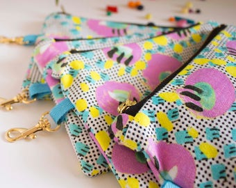 Reunion, Digitally Printed Cotton, Patterned, Small Zipper pouch, Make Up Bag, Festival Bag, Swivel Clip