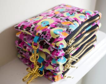 Naive Cluster, Small Zipper Bag, Digitally Printed Cotton Satin, Patterned, Zipper pouch, Make Up Bag, Festival Bag, Casual Clutch