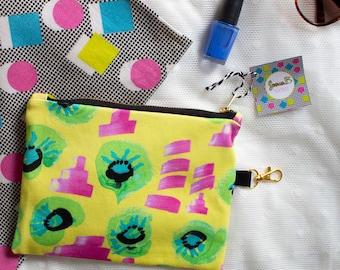 Medium Zip Bag, Floral Splatter, Digital Print, Cotton Satin, Zipper pouch or Make Up Bag
