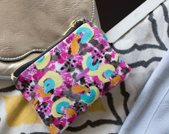 Naive Cluster, Coin Purse, Digitally Printed, Cotton Printed lining, Patterned, x Small for small change and cards