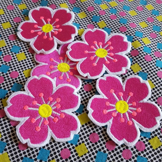 Flower Patch Emoji Pink Embroidered Iron On Patch Etsy