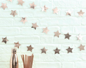 Rose Gold Metallic Star Garland, Shimmer Foil Star Garland, Birthday Garland, Festive, Christmas, New Years Eve Garland, Star Bunting, Gold