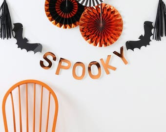 Spooky Bat Garland Decoration Kit - Lovely Foil Orange Mylar - Cut out SPOOKY Garland, Bats and Garland, Chic Halloween Decorations
