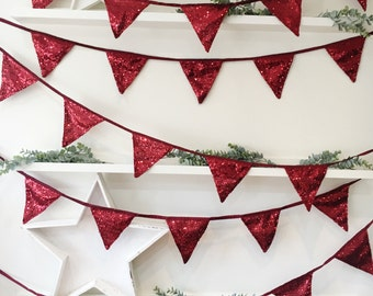 Berry Red Sequin Bunting, Red Bunting, Festive Bunting, Red Christmas Banner, Bunting