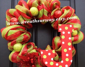 Red and Green Deco Mesh Christmas Holiday Wreath with Ornaments Personalize