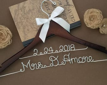 Ships in 1- 3 Business Days!!! Personalized Hanger w/NAME & DATE || Bridal Hanger - Bridal Shower - Wedding - Bridesmaids Gifts ||