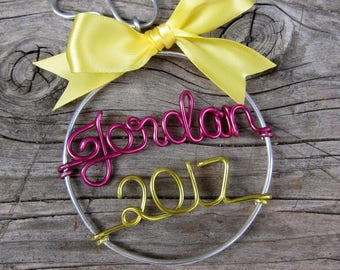 Personalized Ornament / Wire Ornament/ Christmas Ornament / Holiday Ornament/ Holiday Gift / Couples Gift