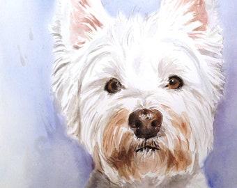 Custom Dog portrait Watercolor painting Custom Pet portrait Watercolor Painting Original Painting Memorial Art