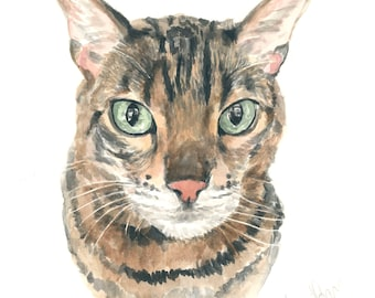 Cat portrait Bengal cat Custom cat portrait Watercolor painting Cat lover gift Gift for her cat painting