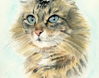 Custom cat portrait. Cat lover gift. Cat painting. Illustration cat. Watercolor cat. Cat art