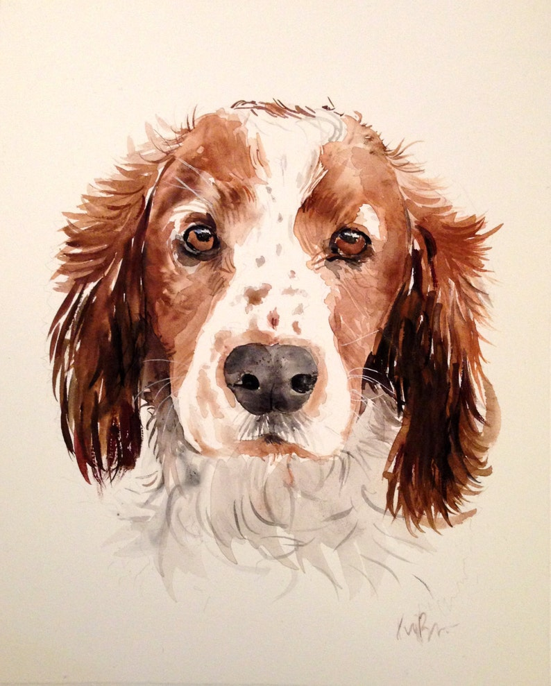 Custom pet portrait. Original watercolor painting. Dog image 0