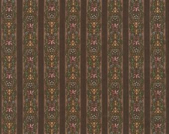Antique Floral Border Stripe on Brown, Country Manor, Darlene Zimmerman, Robert Kaufman (By YARD)~