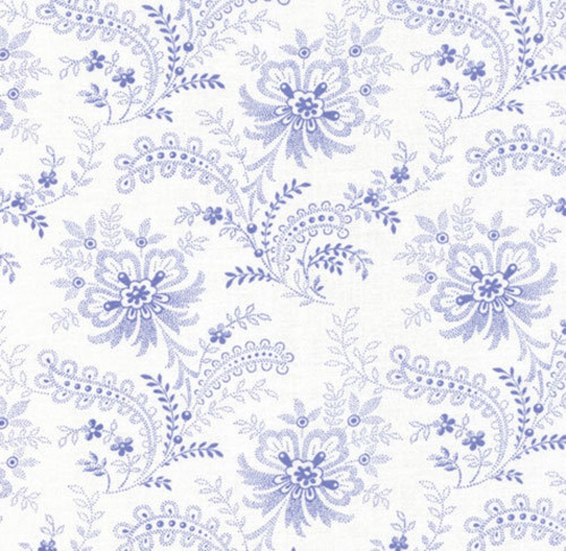 391d0ece14dd Beautiful Blue Floral Swirl, White Background, Summer Breeze Favorites,  Sentimental Studios, Moda, 32592-11, By the Yard