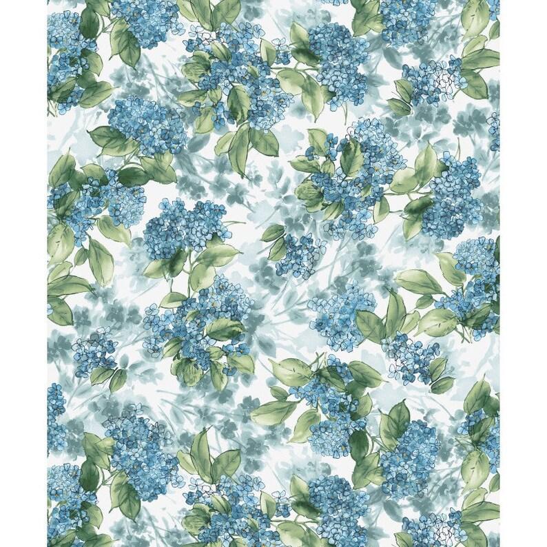 Maywood Watercolor Hydrangeas MAS9339 B Blue Hydrangea Posy Cotton Fab