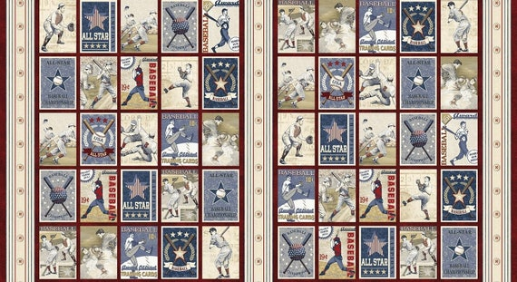 Items Similar To Antique Baseball Cards Fabric Panel 23