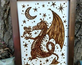Fairy petting a dragon canvas