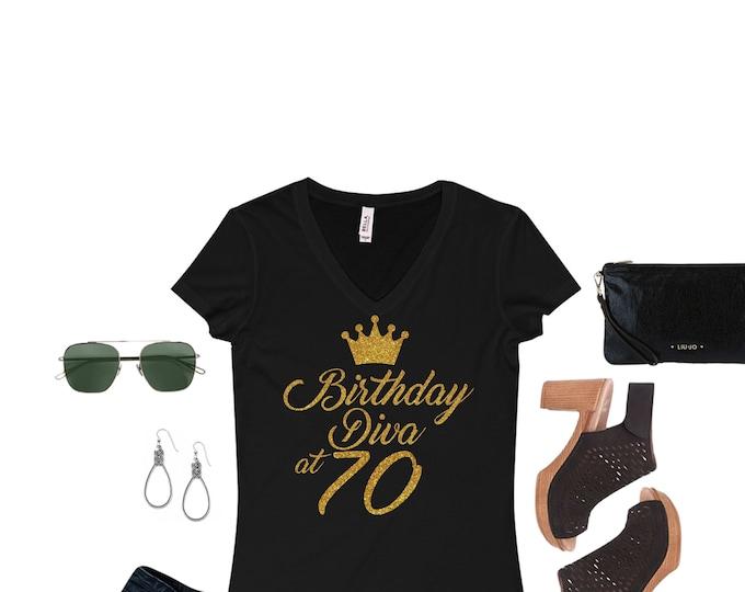 Birthday diva WOMEN BIRTHDAY SHIRT Gold glitter writing,50th, 60th,70th, Birthday women top,