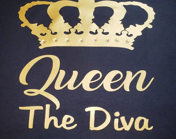 Queen WOMEN SHIRT with Gold and rhinestone,Birthday women top, Birthday women shirt, Diva Queen shirt