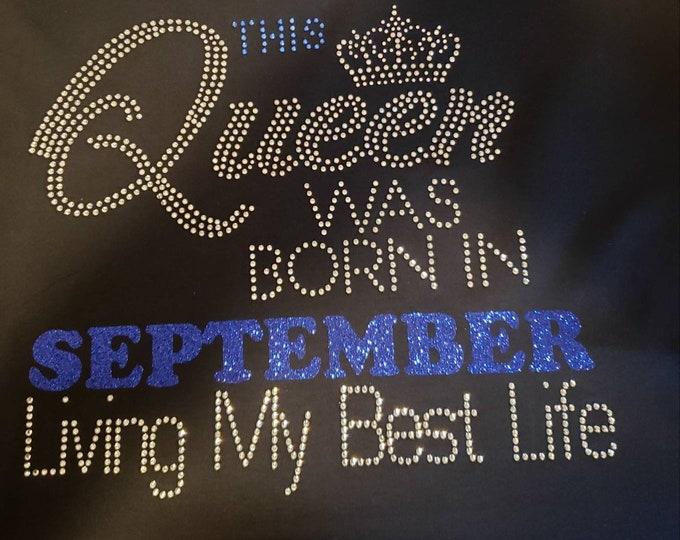 Birthday bling women shirt, Black Queen Birthday shirt, Natural hair women shirt, Melanin poppin,Women Rhinestone Tops