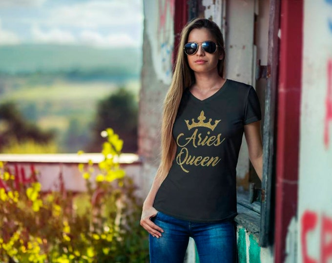 Women Birthday shirt, QUEEN Aries Birthday WOMEN SHIRT Gold glitter writing,Queen Birthday women top, Free Shipping