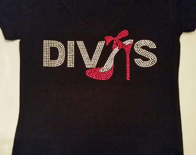 Diva Bling with  Red shoe women shirt, birthday shirt, Women Bling Top, Free Shipping