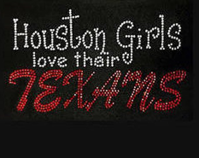 Women Houston FOOTBALL bling shirt, Texans shirt, Houston Texans bling shirt