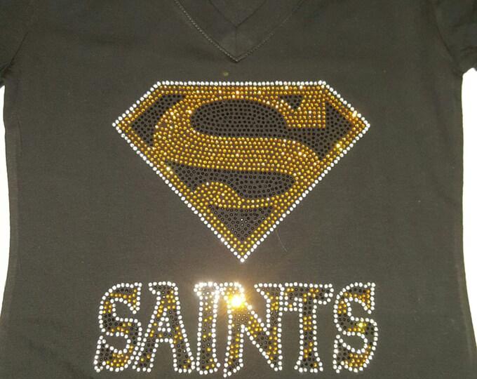 Rhinestone women bling Saint shirt
