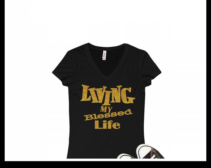 Living My Blessed Life WOMEN SHIRT Gold glitter writing, Best Life women top, Women Top and Tee