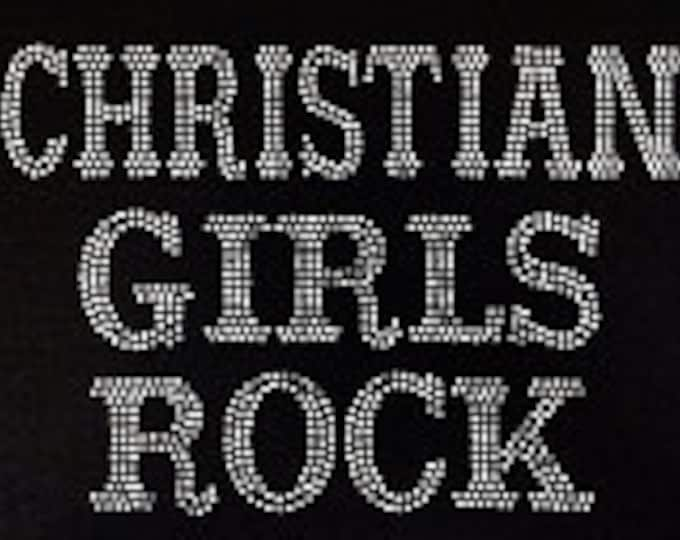 Christian Girl Rocks  faith rhinestone women shirt,Church Girl, Women Christian top, Church Shirt
