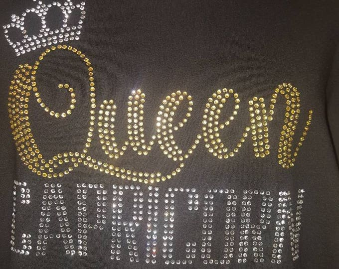 Queen Capricorn, Birthday Shirt,Women Birthday Top,  Rhinestone shirt