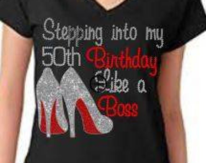 Birthday bling women shirt, Black Queen Birthday shirt, Stepping Like a Boss women shirt, Melanin poppin,Women Rhinestone Tops