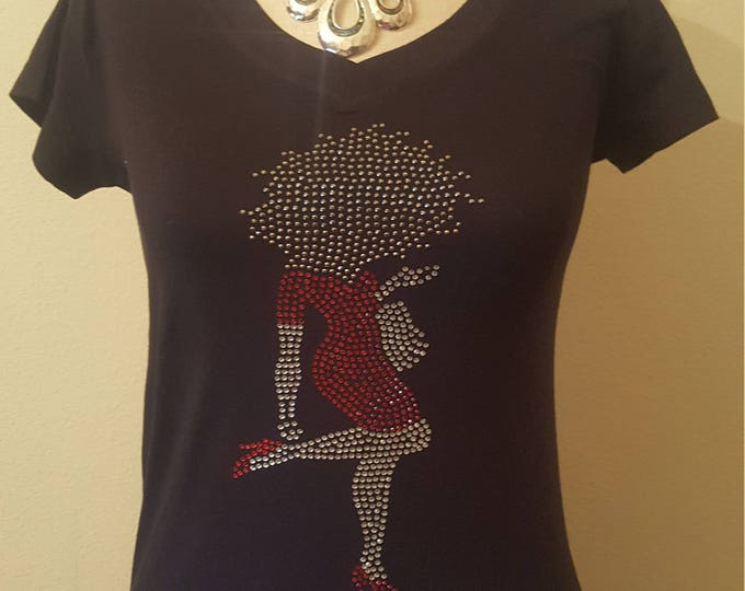 Greek Delta Bling Women Rhinestone shirt with lady with red, Sorority bling, DELTA,