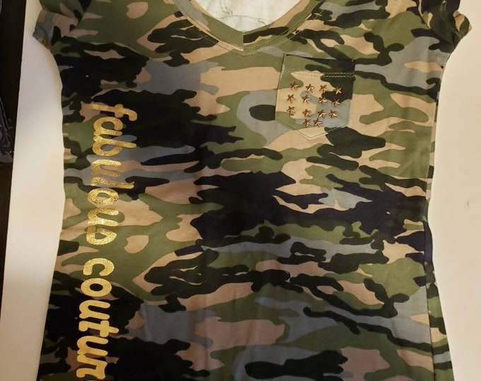 Camouflage print with bronze stones women shirt, army print women top