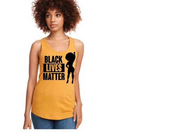 Women Black lives Matter Tank top Black top, Afro Women Top, Melanin Tank Top, Natural hair shirt, Power Fist, Black girl shirt