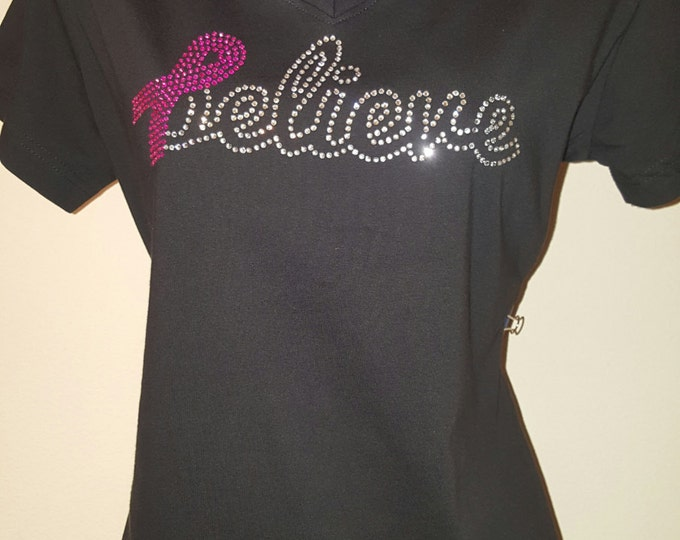 Cancer Awareness Women Top, cancer shirt,  Rhinestone Women's Breast Cancer Shirt, I Wear Pink For, Pink Ribbon, women top