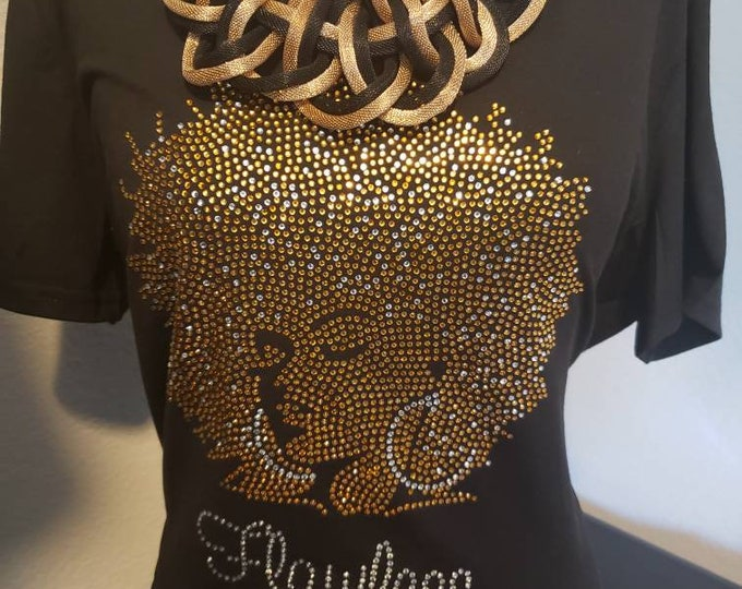 Natural Hair bling women, Black Queen shirt, Natural hair women shirt, Melanin poppin,Women Rhinestone Tops