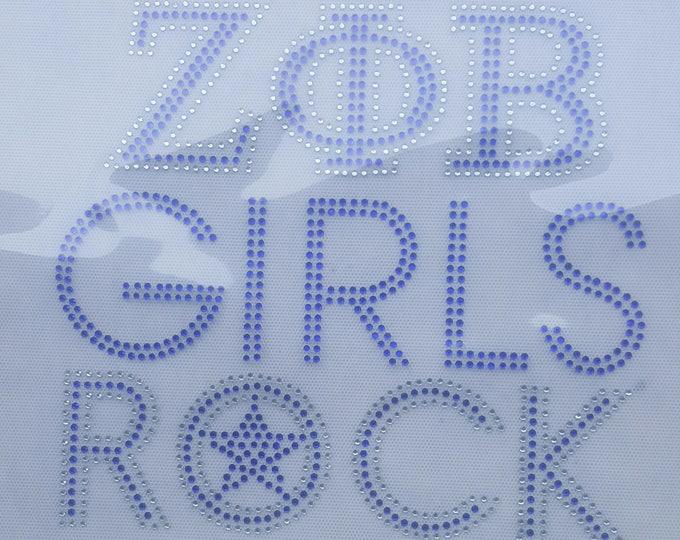 Women Rhinestone Zeta shirt, Sorority Bling shirt, Greek Shirt, Women HBCU bling shirt