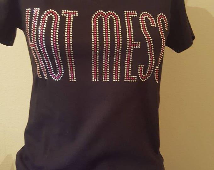 Bling tee shirt, Hot Mess Rhinestone shirt, Women Bling shirt