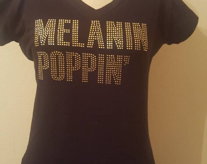 Melanin Poppin Women bling shirt