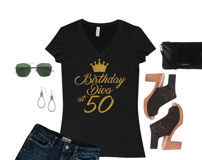 Birthday diva WOMEN BIRTHDAY SHIRT Gold glitter writing,50th,Birthday women top,