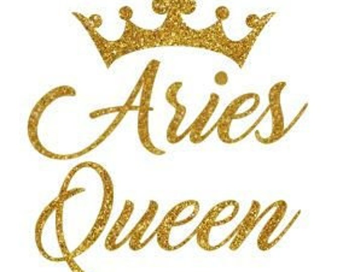 QUEEN Aries Birthday WOMEN SHIRT Gold glitter writing,Queen Birthday women top, Free Shipping