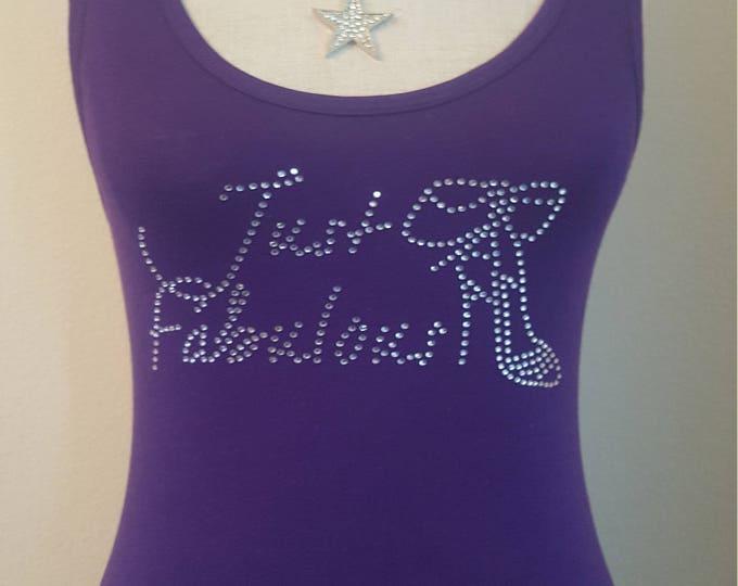 Just Fabulous Rhinestone women Purple tank top  shirt with Heel,women bling tank, Diva bling