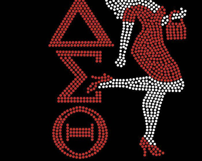 Greek Delta Bling shirt with lady with red, Sorority bling, DELTA, DST, Delta Bling shirts