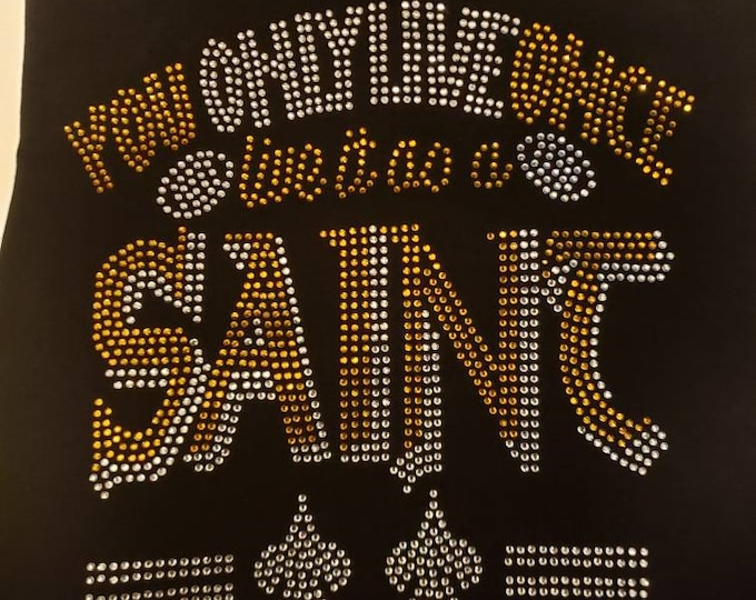 Saint Rhinestone shirt, New Orleans, Who Dat Women Football Bling shirt, women top,Football bling top