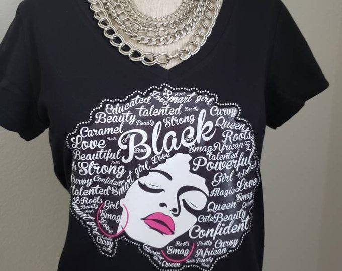 Natural Hair bling women, Black Queen shirt, Natural hair women shirt, Melanin poppin,Women Rhinestone Tops