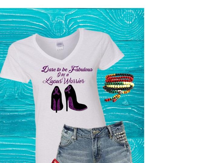 Lupus Awarenees T shirts women, Lupus Warrior, tops Free Shipping